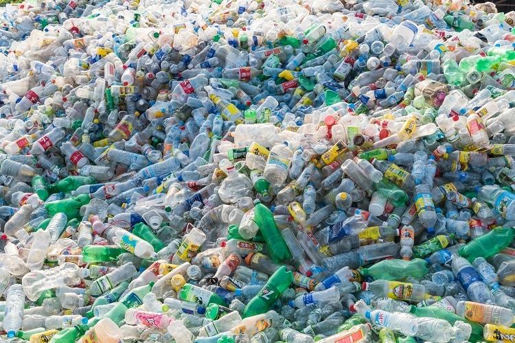 A huge pile of waste plastic bottles