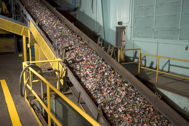 Shredded aluminum cans to be recycled at Novelis plant in Oswego, NY