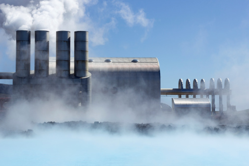 A typical geothermal power plant.