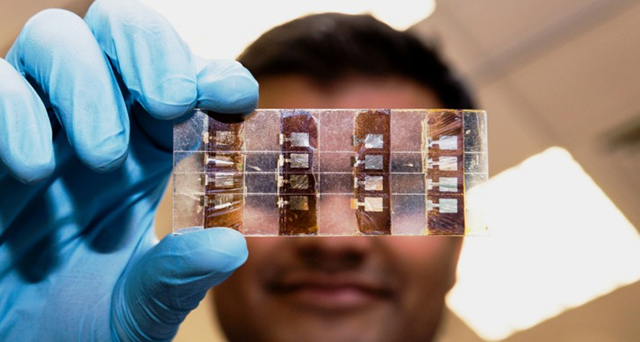Perovskite solar cells are cheaper to produce and generate almost as much power traditional thin film solar cells.
