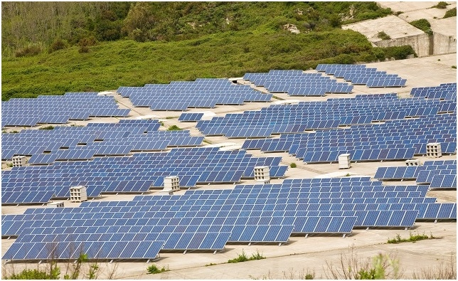 A set of solar panels in the crater of Lipari Island, Italy (Image credit: imagesef / Shutterstock.com)