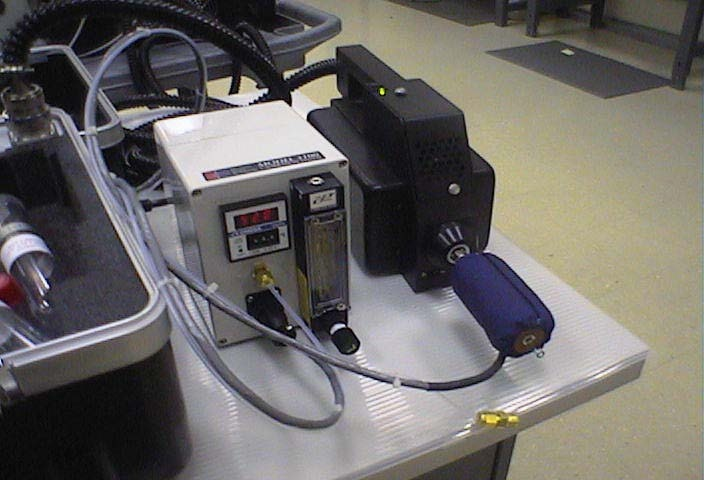 Attachment of Open-Tubular sample desorber attached in inlet of GC/SAW Vapor Analyzer.