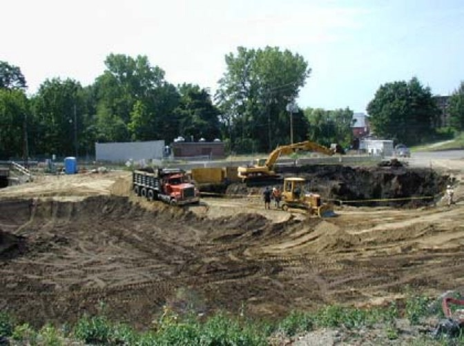 Excavation at remediation site involves removal of coal tar contaminated soil