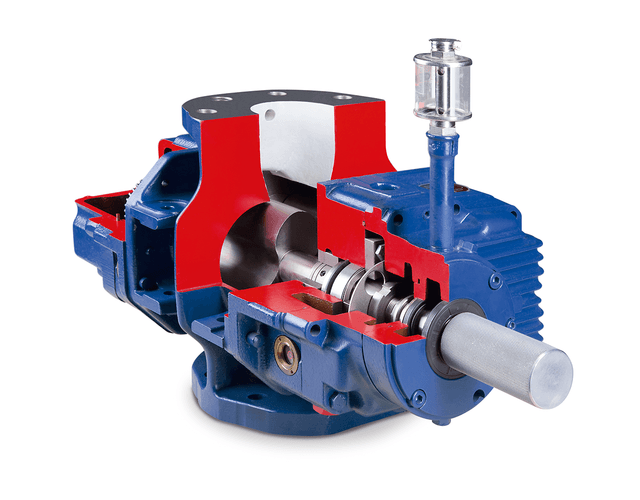 The air-cooled blower GMa 10.2 HV works with vertical direction of flow.