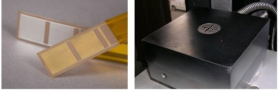 Disposable (left) and reusable (right) dielectric sensors